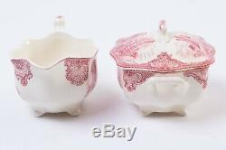 Johnson Bros Old Britain Castles Pink 4-pc Service Set Teapot Tray Cream Sugar
