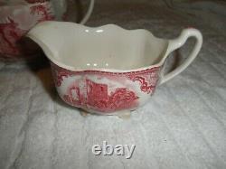 Johnson Bros Old Britain Castles Pink Teapot Sugar Bowl & Creamer Crown Stamp EC