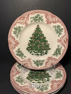 Johnson Bros Old Britain Castles Red Christmas Green Tree 10 1/2 Plate Set of 4