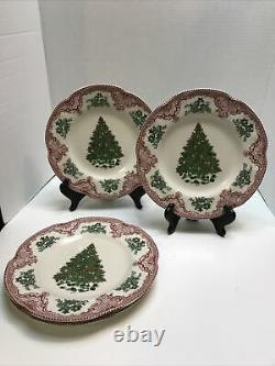 Johnson Bros Old Britain Castles Red Christmas Green Tree Salad Plates Set Of 4