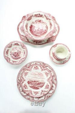 Johnson Bros Pink China Old Castles 69 Piece Dinnerware Set