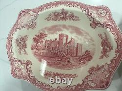 Johnson Bros Pink Old Britain Castles 4 Pieces Oval Bowls /Relish Underplate