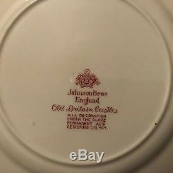 Johnson Bros Red Transfer Old Britain Castles 28 piece set old mark