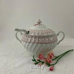 Johnson Bros. Rose Bouquet Made In England Pink Transferware Soup Tureen withLadle