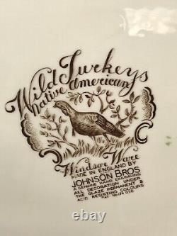 Johnson Bros Thanksgiving 20 Platter Wild Turkeys Native American Windsor Ware