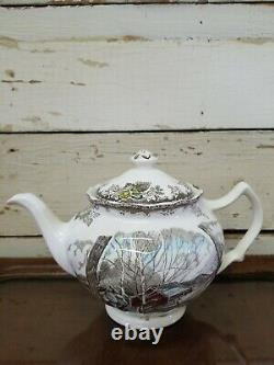 Johnson Bros The Friendly Village Teapot Made In England Sugar Maples Winter