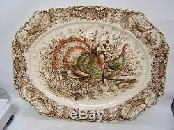 Johnson Bros Wild Turkeys Native American Windsor Ware 20 Platter Stunning