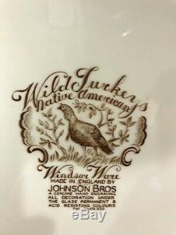 Johnson Bros Windsor Ware American Wild Turkeys Platter 21 x 16 Thanksgiving