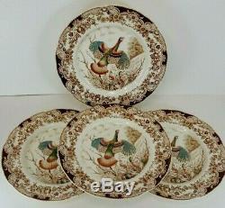 Johnson Bros Windsor Ware Wild Turkeys 10.5 Dinner Plates England 4 piece Lots