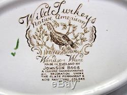 Johnson Bros. Windsor Ware Wild Turkeys Native American Oval Vegetable Bowls Set