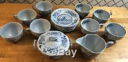 Johnson Brothers 18 pc Lot Tulip Time Blue with Blue Background Disc. 1962-1977