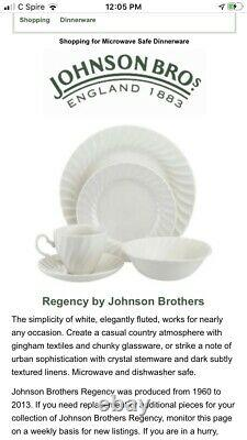 Johnson Brothers 4- 5 Piece Place Setting Regency White Dinner Salad Plate Bowl