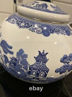 Johnson Brothers BLUE WILLOW Bird Whistling Tea Kettle Enamelware