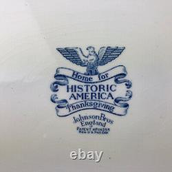 Johnson Brothers Blue Historic America Thanksgiving Turkey Platter Home For 20