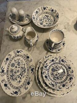 Johnson Brothers Blue Nordic China Set Decorated Inside England