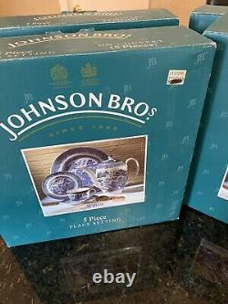 Johnson Brothers Blue Willow 5 Piece Place Set NEW IN THE BOX lot of 4