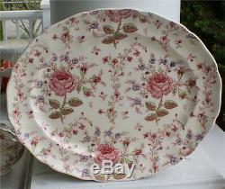 Johnson Brothers China Rose Chintz Pattern Oval Platter 14 Nice Cond