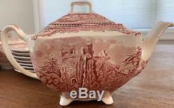 Johnson Brothers China Set OLD BRITAIN CASTLES Pink 41 Piece SERVICE for 8