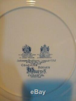 Johnson Brothers Coaching Scene Blue Dish Set Made in England. (Hanley) Ltd