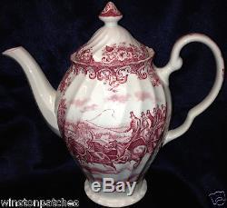 Johnson Brothers Coaching Scenes Pink Coffee Pot 54 Oz Swirl Shape Rim Regency