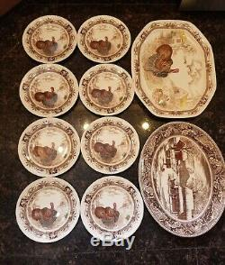 Johnson Brothers England Barnyard King Large Turkey Platters, 8 Dinner Plate Set
