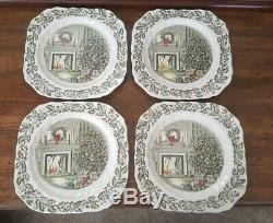 Johnson Brothers England Merry Christmas Set 4 Dinner 4 Salad Plates Ecellent