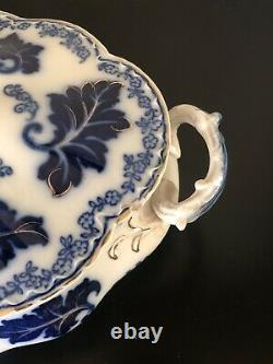 Johnson Brothers Flow Blue Normandy Oval Vegetable Dishes Gold Accent
