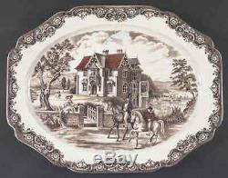 Johnson Brothers HERITAGE HALL BROWN MULTICOLOR 20 Oval Serving Platter 278012