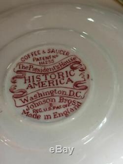 Johnson Brothers HISTORIC AMERICA Vintage 6 Demi-Tasse Cups & Saucers