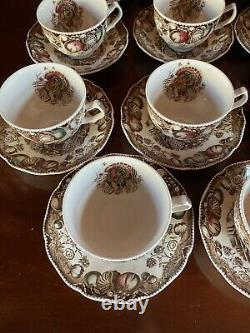 Johnson Brothers HIS MAJESTY Thanksgiving Turkey Cups & Saucers Set Of 11