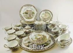 Johnson Brothers Heritage Hall Brown 67 Pc Set SERVICE FOR 12 England Excellent