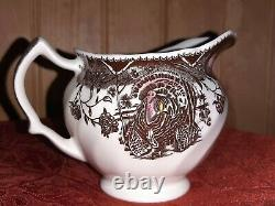 Johnson Brothers, His Majesty, Turkey Pattern, Creamer and Covered Sugar Bowl, M