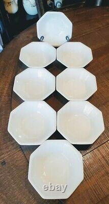 Johnson Brothers Ironstone Heritage White Soup Cereal Bowls x 8 UNUSED