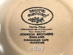 Johnson Brothers Laura Ashley PETITE FLEUR Burgundy Pink 79 Set Service for 12