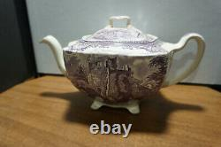 Johnson Brothers Lavender Old Britain Castles Tea Pot Repaired Finial Lid 4 Cup