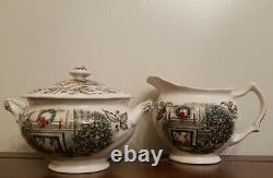 Johnson Brothers MERRY CHRISTMAS Sugar Bowl And Creamer Set England Vintage