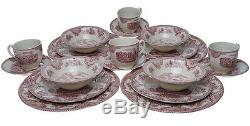 Johnson Brothers OLD BRITAIN CASTLES PINK 20 Pc Dinnerware Set for 4 NEWithBOX