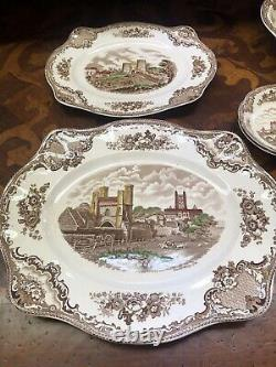 Johnson Brothers Old Britain Castles Brown Multi Color Service For 8 And Extras