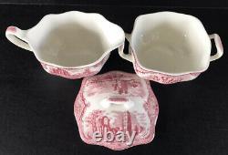 Johnson Brothers Old Britain Castles Pink Tea Set 11 Pieces Teapot Cup & Saucers