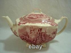 Johnson Brothers Old Britain Castles Pink Teapot & Lid Made in England Stamp VTG