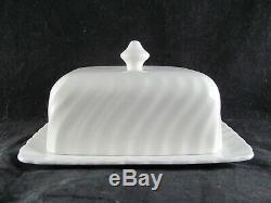 Johnson Brothers Regency 1/2 lb Butter Dish, 6-7/8, white, swirl, RARE 1/2 LB