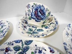 Johnson Brothers Rose Chintz Blue 5 Piece Dinner Set Dinnerware HTF Blue Chintz