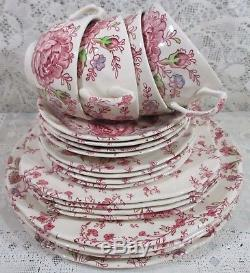 Johnson Brothers Rose Chintz Pink 20 Pieces Place Setting Service For 4 England