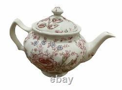 Johnson Brothers Rose Chintz Pink Tea Set of 6, Sugar Bowl & Creamer Set