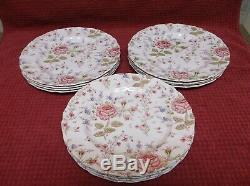 Johnson Brothers Rose Chintz Set of 12 Dinner Plates 9 7/8 Pre 1939 Excellent