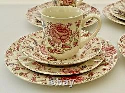 Johnson Brothers Rose Chintz Sixteen Piece Dinnerware Service for Four Pink
