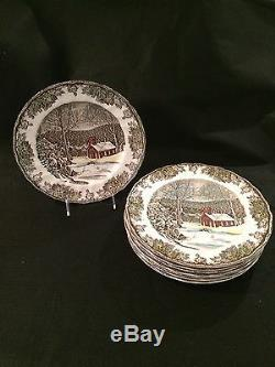 Johnson Brothers The Friendly Village Set Of 8 Dinner Plates The School House