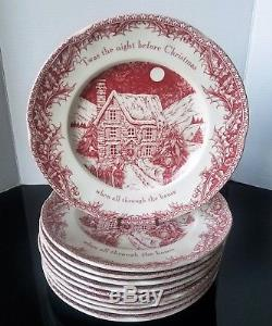 Johnson Brothers Twas the Night Before Christmas Dinner Plate Set Of 8 New