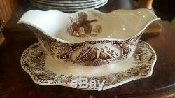 Johnson Brothers Wild Turkey Native American Gravy Boat. Attached Plate