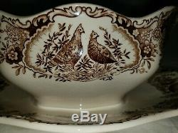 Johnson Brothers Wild Turkey Native American Gravy Boat w Plate $395 retail